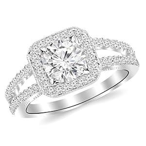 1.32 Carat Designer Split Shank Halo Style With Milgrain Diamond Engagement Ring 14K Black Gold with a 0.85 Carat I-J SI1-SI2 Round Brilliant Cut/Shape Center