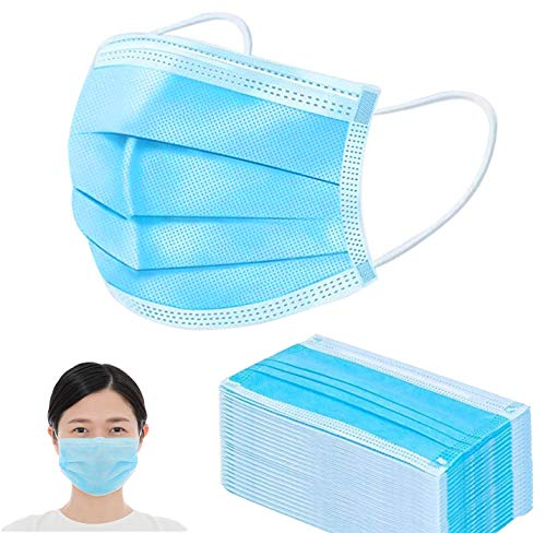 Face Masks 60PCS Dust Proof 3 Ply Mouth Cover for Daily Wearing, Blue