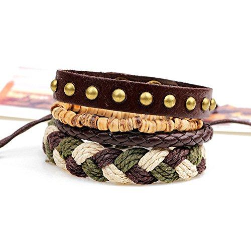 Holattio Mix 4 Wrap Bracelets for Men Women, Hemp Cords Wood Beads Ethnic Tribal Bracelets, Leather Wristbands