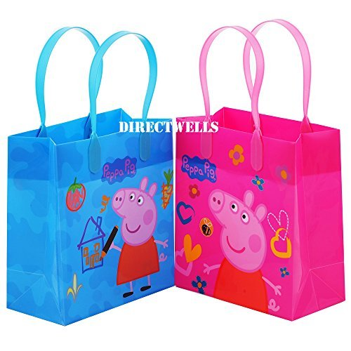 Peppa Pig Party Favor Goody Tote Candy Bag Great Child Birthday Gift, 12 Piece -