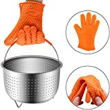 Steamer Basket Instant Pot 6 or 8 Quart Accessories,Stainless Steel Strainer and Insert fits IP Insta Pot,Instapot 6qt&8qt Pressure Cooker with Heat Resistant Glove