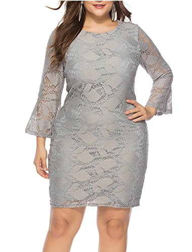Womens Plus Size Lace Mini Dress Wedding Dresses Off Shoulder Vintage Floral for Cocktail Party Gown Dress (Gray, X-Large) -