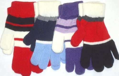 Set of Four Pairs Striped Magic Gloves for Adults