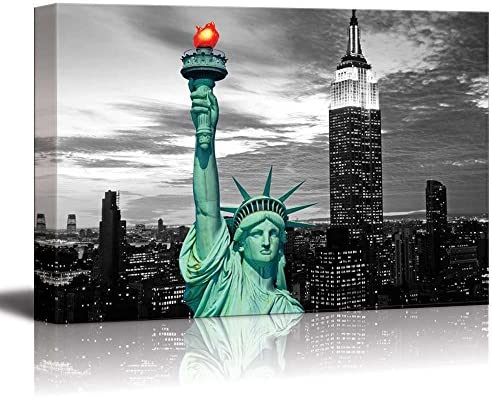 Black and White Photograph with Pop of Color on The Statue of Liberty in New York