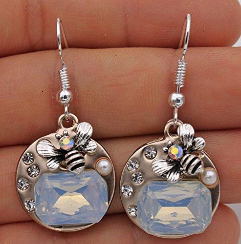 (phitak shop 925 Silver Plated Hook-1.6'' Bee Opal Crystal Rainbow Pearl Cocktail Earrings#17)