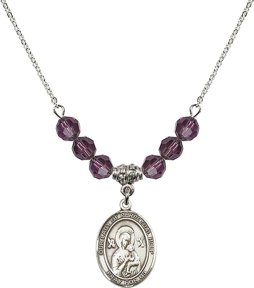 18-Inch Rhodium Plated Necklace with 6mm Amethyst Birthstone Beads and Sterling Silver Our Lady of Perpetual Help Charm.