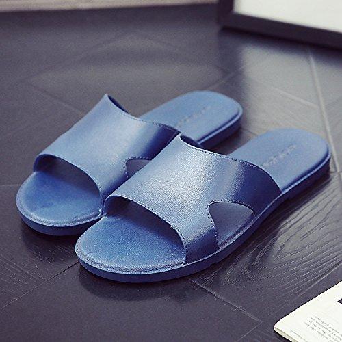 FankouZapatillas de verano pareja femenina plantas frescas zapatillas home stay antideslizante con baño verano fondo blando zapatillas ,41, azul oscuro
