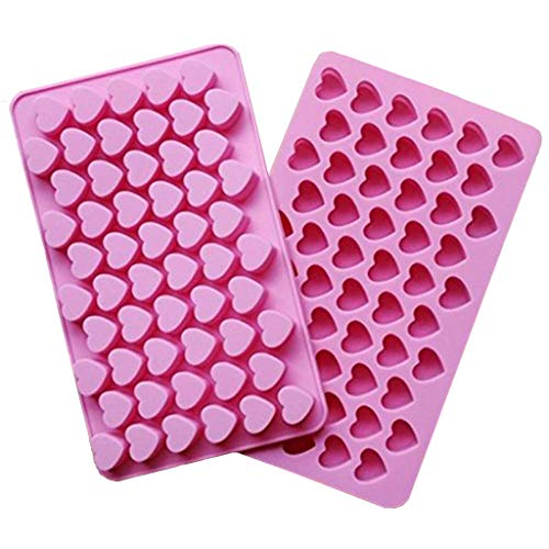 (CIMERAC Silicone Mold Mini Heart Shape Silicone Ice Cube Molds Trays/Chocolate Mold Pink Set of Two )