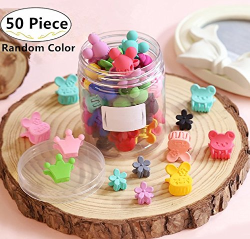 50 Piece Mini Hair Pins, Magnoloran Hair Claw Clip Snap Hair Bows Clips Hairpin Barrettes for Toddlers Baby Girls Kids Children Women Hair Accessories Including Flower, Crown, Rabbit, Bear, Heart Shape etc
