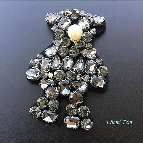 - SMALL-CHIPINC - 1Pcs Cute Rhinestone Beaded Bear Patch for Clothing Sewing on Patch Beading Applique Clothes Shoes and Bags DIY Decoration Patch