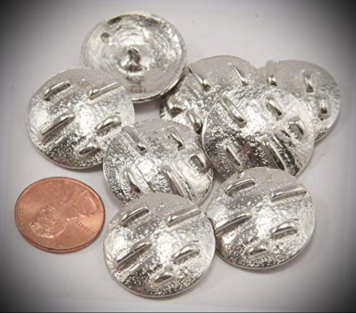 (JumpingLight 8 Shiny Silver Tone Metal Buttons Domed 7/8'' 23mm 6849 Perfect for Crafts, Scrap-Booking, Jewelry, Projects, Quilts)