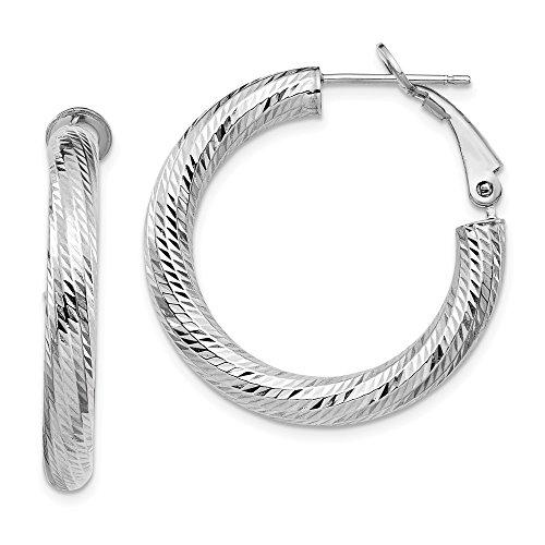 Leslie's 14K 4x20 White Gold Diamond Cut Round Omega Back Hoop Earrings