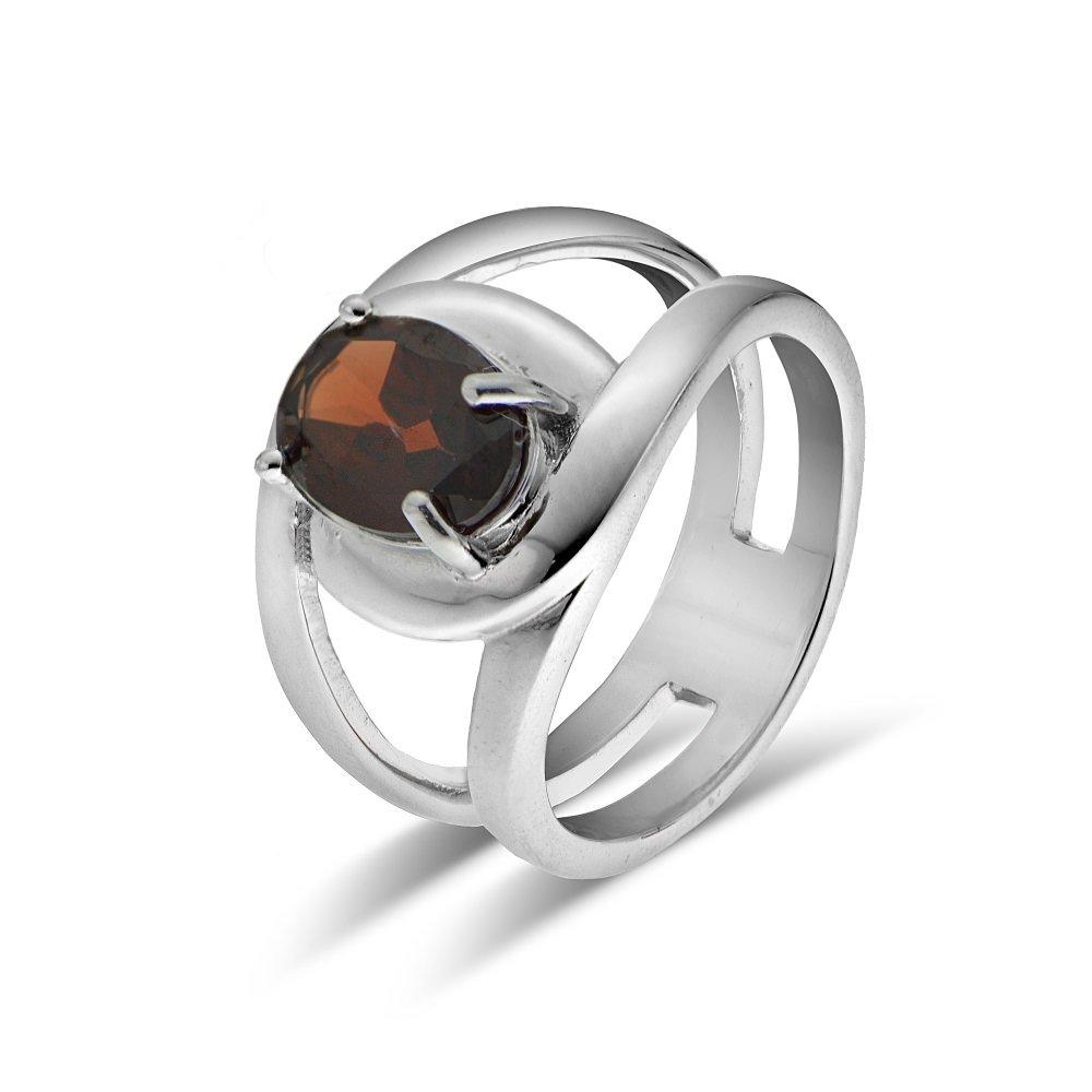 Ice Gems Sterling Silver African Garnet Oval Open Ring