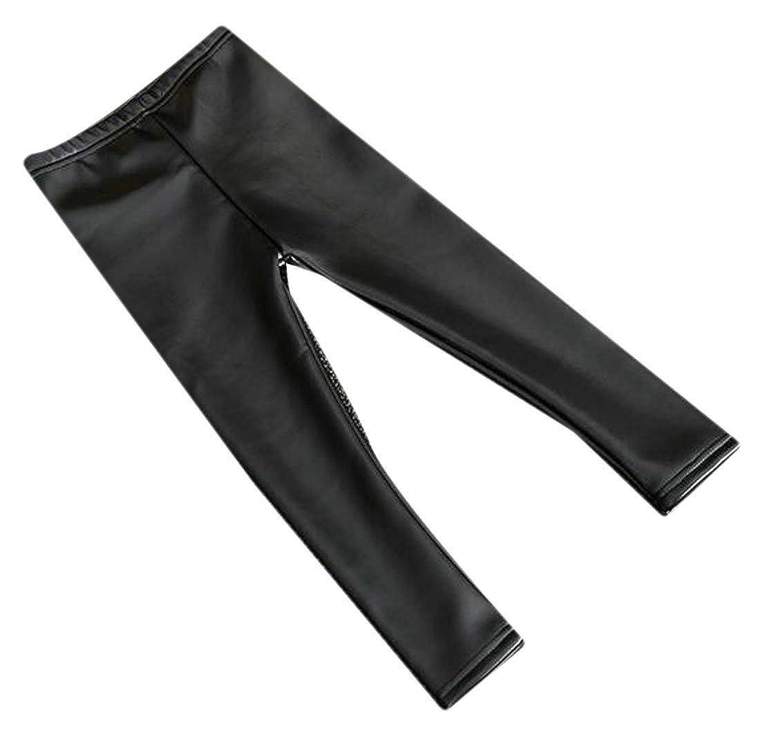 Fulok Girls Winter Faux Leather Fleece-Lined Full-Length Leggings Black 2T