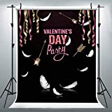 Valentine Party Backdrops for Photography, 6x9FT, Arrow Feather Ribbons Black Backgrounds, Party Banner Studio Props LULX068