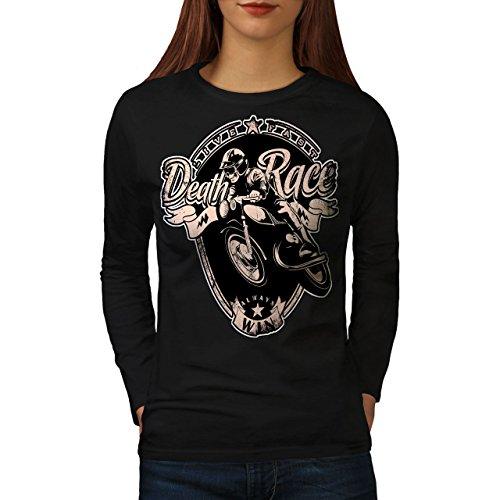 wellcoda Racing Motorbike Womens Long Sleeve T-Shirt, Motorcycle Graphic DesignBlack ()