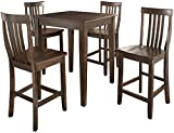 Crosley Furniture 5-Piece Pub Set with Tapered Leg Table and Schoolhouse Stools - Vintage Mahogany