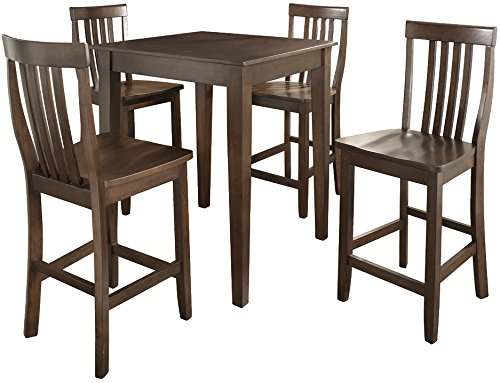 Crosley Furniture 5-Piece Pub Set with Tapered Leg Table and Schoolhouse Stools - Vintage Mahogany Mahogany Outdoor Table