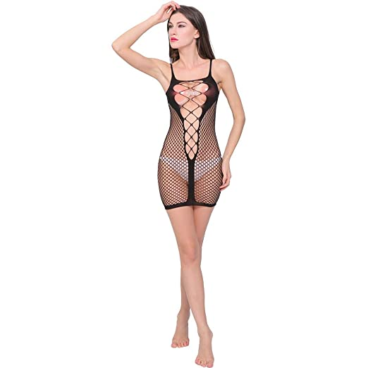 de883bf9394c 😍AxiBa😘Sexy Lingerie for Women Fishnet Halter Chemise Deep V Hot Mesh Mini  Dress