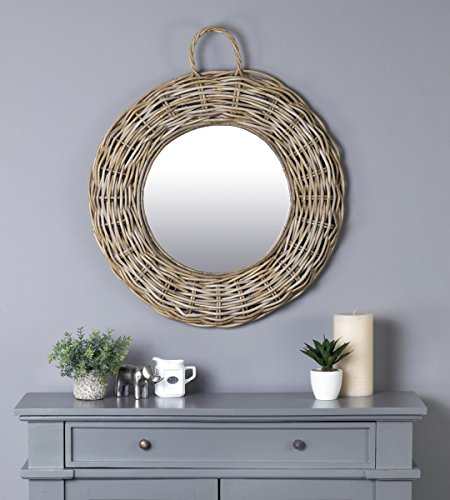 East at Main Giota Grey Transitional Round Rattan Mirror, 26''x2.5''x26'' by East At Main