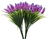 Budding Joy 2pcs Artificial Flower Purple Lavender Bouquet 24 Heads for Home Decor and Wedding Decorations (Red lotus)