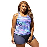 Cfanny Women's Push Up Tankini With Panty Two Pieces Swimsuit Set Plus Size Swimwear