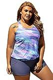Women's Stripes Print Blouson Tankini Set Two Piece Swimsuit, Blue, Large