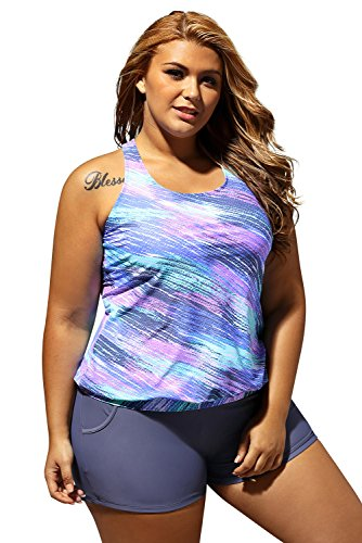 Women's Stripes Print Blouson Tankini Set Two Piece Swimsuit,Blue(US 18-20) XXL