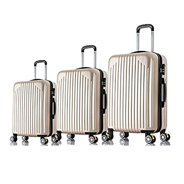 Magshion 20  24  28  3PC Carry On Luggage Travel Bag Spinner Suitcase Champagne