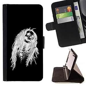 Momo Phone Case / Flip Funda de Cuero Case Cover - Negro de Halloween Blanco Cráneo Esqueleto - HTC One A9
