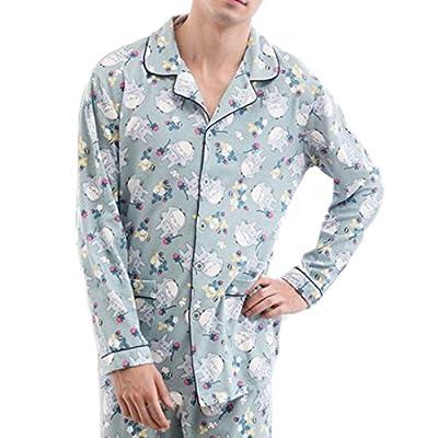 Nice Pandapang Mens Cotton Button Up Pj Set Long Sleeve Sleepwear Pajama Set