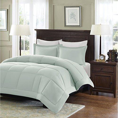 Price comparison product image Madison Park Sarasota Microcell Down Alternative Comforter Mini Set, Full/ Queen, Seafoam