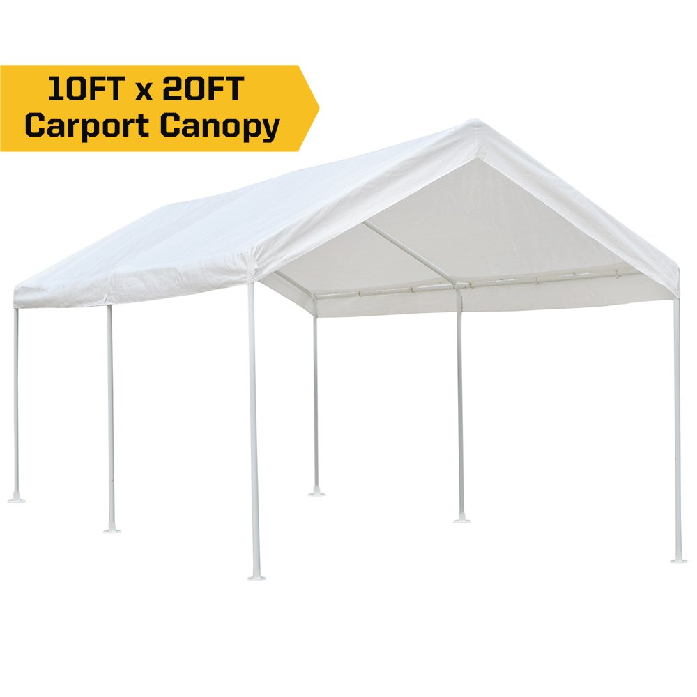 kdgarden 10 x 20 ft. Carport Car Canopy Portable Garage Shelter, Heavy Duty 1-1/2 6-Leg All Steel Frame with Water Resistant UV-Treated Cover, White
