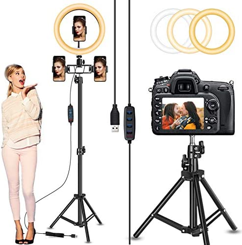 "Circle Light, Selfie Ring Light with 82"" Stand and three Phone Holders, 10"" Led Ring Light Tripod with Ultra-Wide Lighting Area for Camera Photography/Video Recording/Makeup/Live Stream/Tiktok/YouTube"