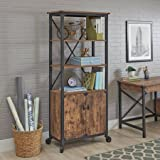 Better Homes and Gardens Rustic Country Library with Doors, Weathered Pine Finish