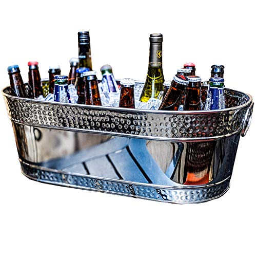 - BREKX Colt Hammered Stainless Steel Silver Party Beverage Tub & Wine Bucket- 17 Quarts