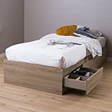 "South Shore 39"" Fynn Mates Bed with 3 Drawers, Twin, Rustic Oak"