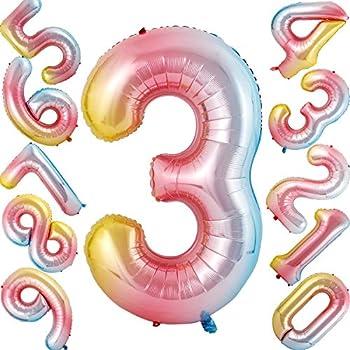 Amazon.com: Globos de números multicolor de 40 pulgadas ...