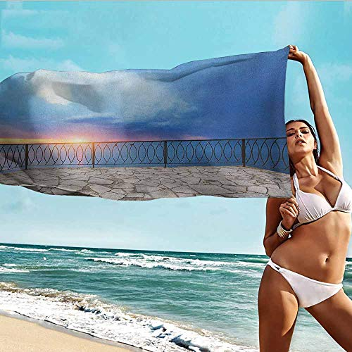 Antonia Reed Beach Towel Personalized Custom Modern,Balcony View Landscape of Ocean Sea as Sunset or Dawn Photograph,Pale Blue White and Lilac,Suitable for Home,Travel,Swimming Use 28