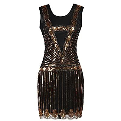 Todayme Womens 1920s Gatsby Sequin Art Deco Inspired Flapper Dress