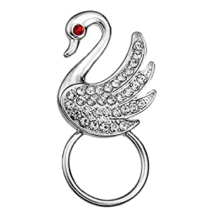 PANGRUI Crystal White Swan Magnetic Eyeglass Pin Brooch Glasses Spectacles Sunglasses Clip Holder