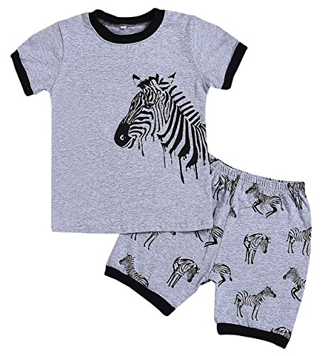 - YOUNGER TREE Kids Boys 2-7T Zebra Print Pajamas Sets Cotton Summer Clothes Short Sets (3T, Grey)