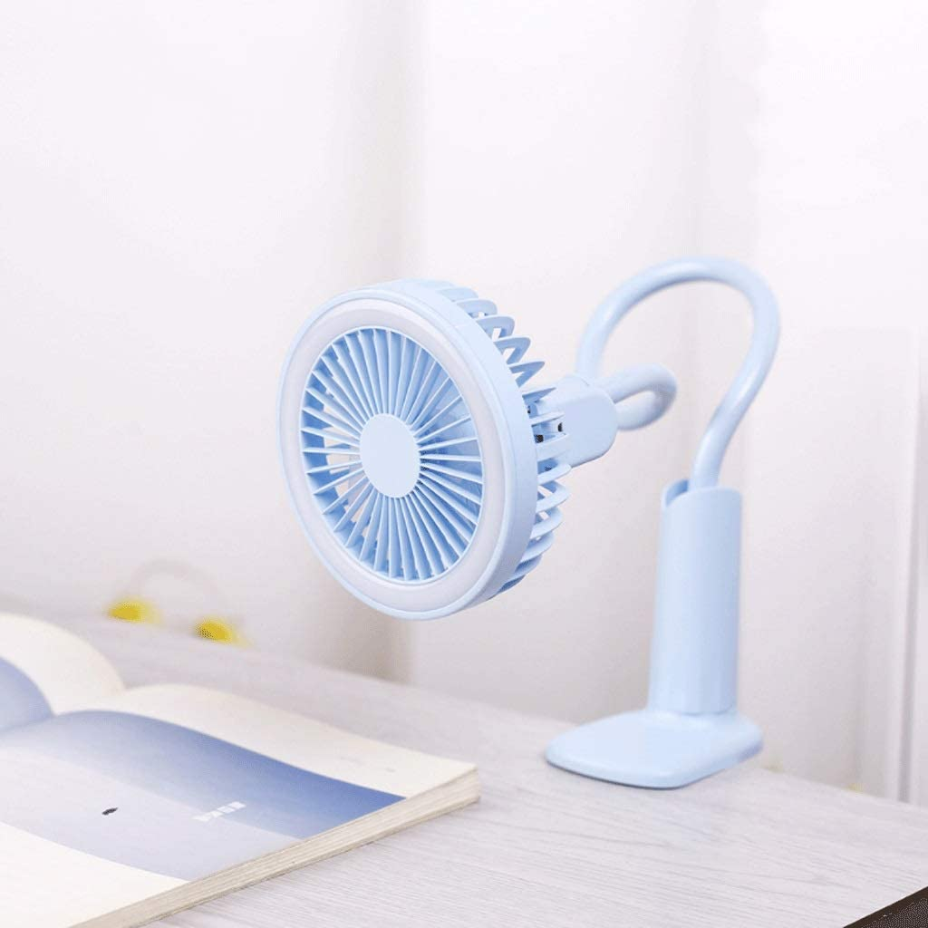 Color : Blue Mainatee USB Desk Lamp Fan Flexible Bendable Office Bedside Baby Carriage Shopping Cart Clip On Fan LED Mini Portable Handheld Small Fan