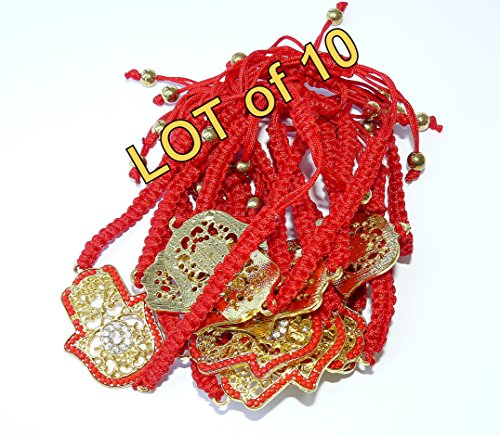 (Lot of 10 PCS Jewish Kabbalah Red String Golden Decorated Large Hamsa Bracelet Evil Eye Charm)