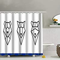 best bags Muzzles Bear Raccoon Wolf Triangles On Animals Wildlife Face Easy Care Fabric Shower Curtain with Reinforced Buttonholes, for Bathroom Showers, Stalls and Bathtubs, Machine Washable