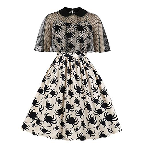 Womens Dresses Halloween Costume Short Sleeve Spider Print Lace Patchwork Swagger Vintage Party Evening Dress Beige M