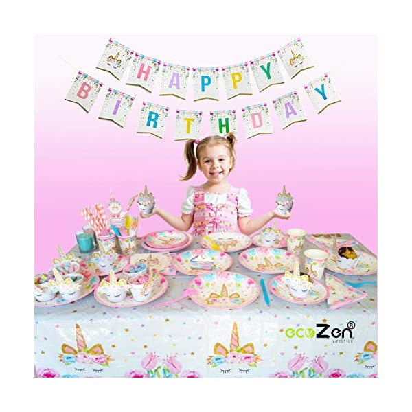 ecoZen Lifestyle Ultimate Unicorn Party Supplies and Plates for Girl Birthday | Best Value Unicorn Party Decorations Set… 5