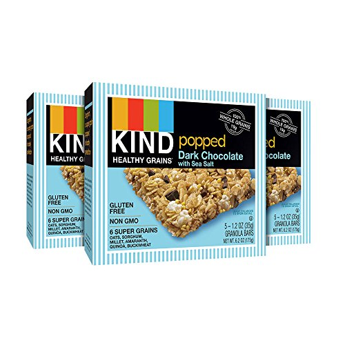KIND Healthy Grains Granola Bars, Popped Dark Chocolate with Sea Salt, Gluten Free, 1.2oz Bars, 15 Count