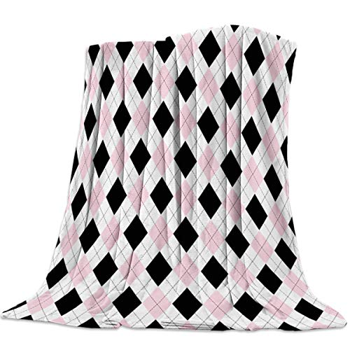 Anzona Lightweight Flannel Fleece Bed Blankets 39'' x 49'' Soft Luxury Throw Blankets Pink Black White Grid Rhombus Lattice Travel Camping Blankets for Girls/Kids/Boys/Couch ()