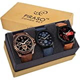 Piraso Analogue Black Dial Men's Combo Of 3 Watches -Pw3-9101